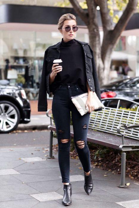 camperas de jeans negras