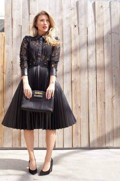falda negra plisada para fiestas