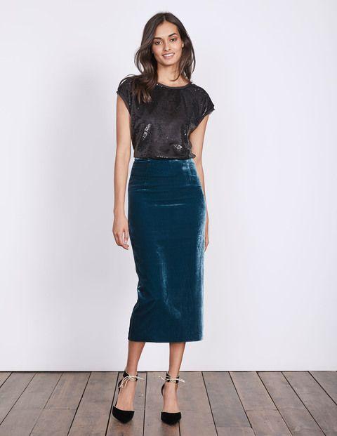 falda tubo de terciopelo