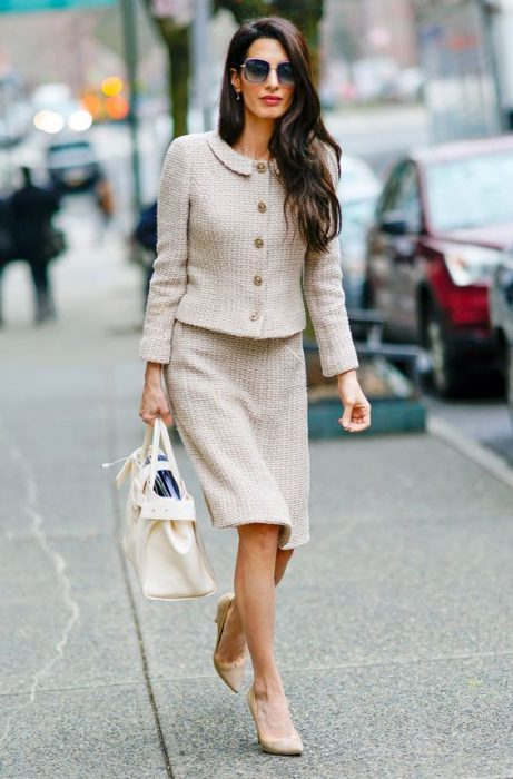 falda y blazer tweed