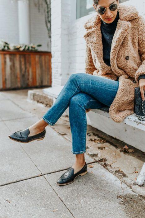 jeans poltera y saco abrigo invierno