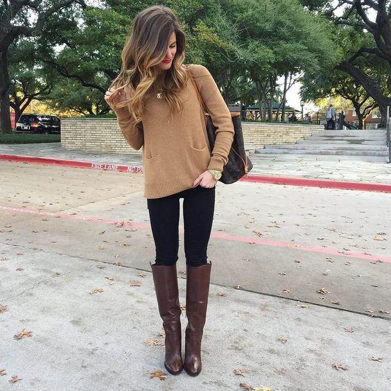 look casual con jeans sweater y botas altas