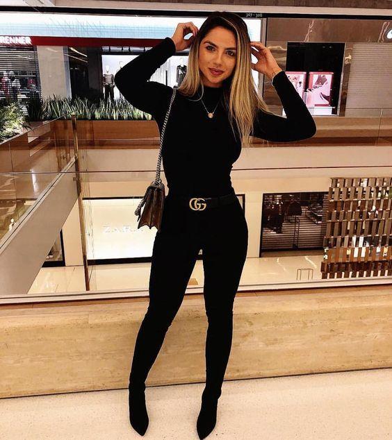 polera y pantalon negro outfit noche