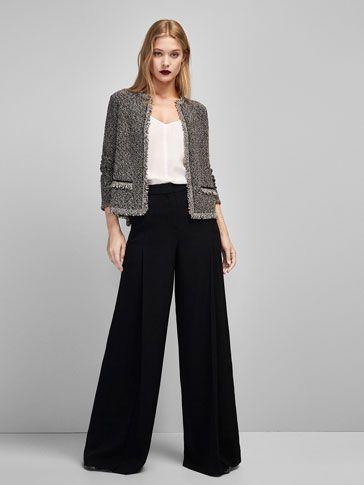 saco tweed con palazzo negro