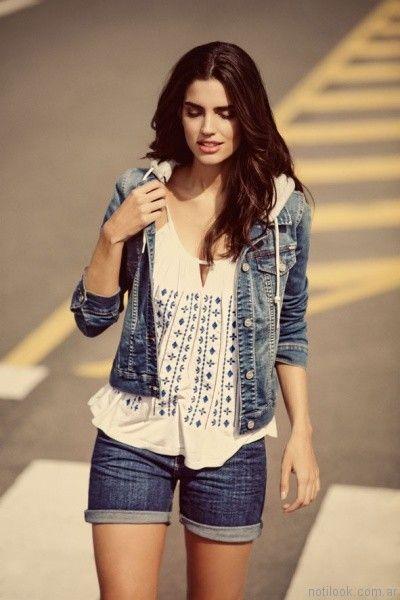 short de jeans con campera