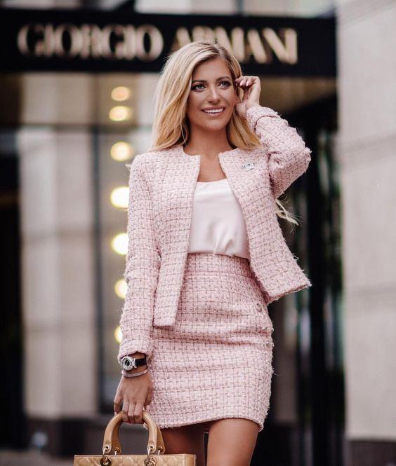 traje pollera y blazer tweed