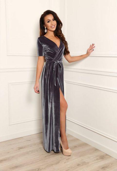 vestido largo cruzado de terciopelo