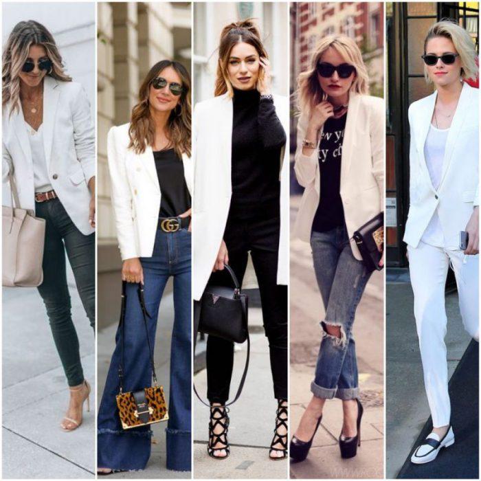 combinar saco blanco y jeans