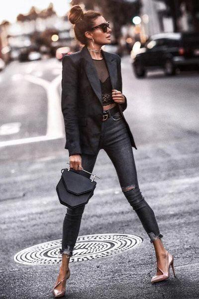 look noche con top y jeans negro