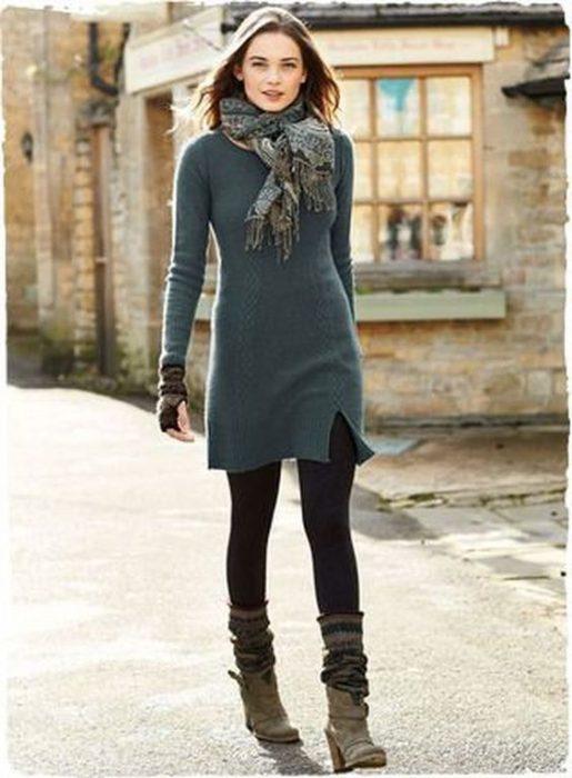 vestido tejido con calza