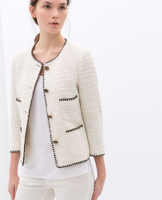 chaqueta tweed color crema