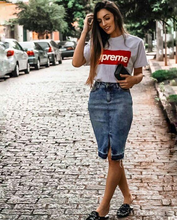 falda lapiz jeans informal