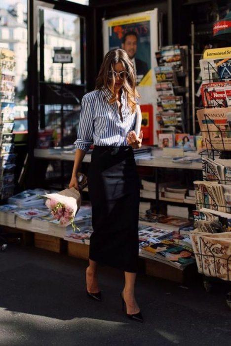 falda lapiz larga