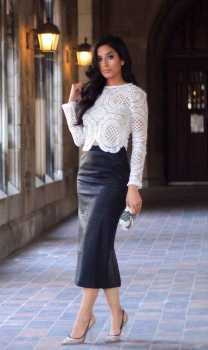 falda tubo de cuero larga