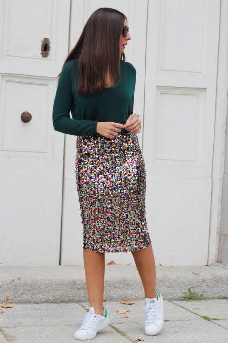 falda tubo lentejuelas colores