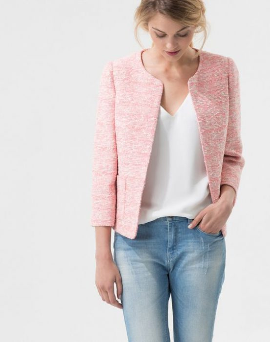 jacket tweed rosa