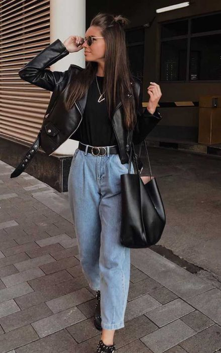 jeans boyfriends tiro alto outfit