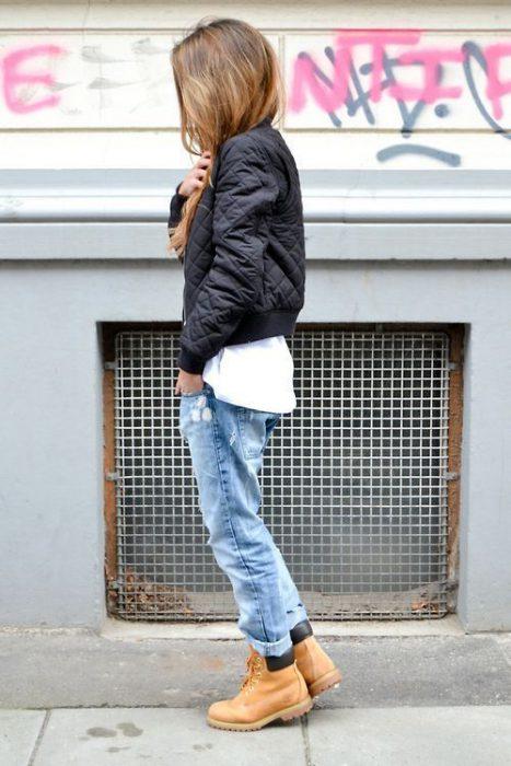 jeans boyfriends y bomber matelase
