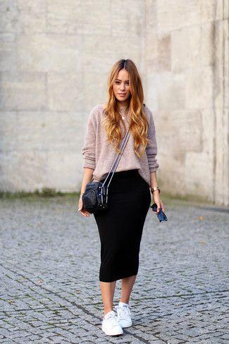 look casual con falda tubo negra