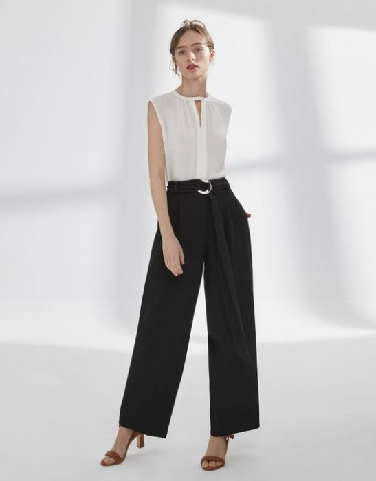 palazzo negro outfit formal