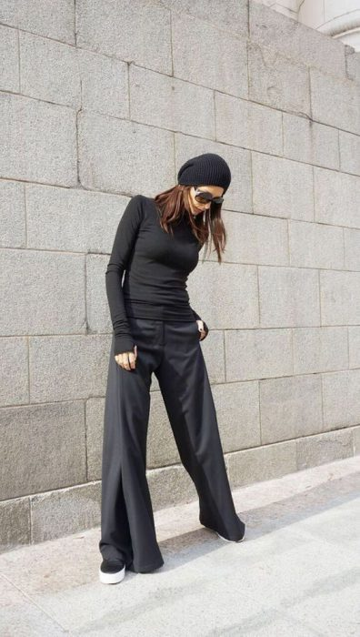 pantalon palazzo negro outfit invierno