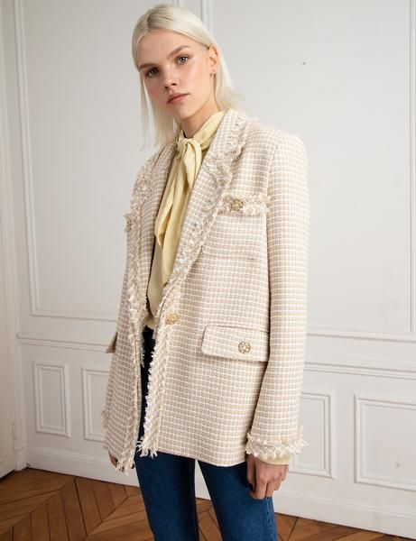 saco largo tweed beige