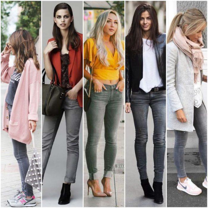 Outfits Con Jean Gris Para Mujer Como Combinarlos 2021 Muy Trendy