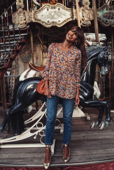 blusa estampada con mangas largas