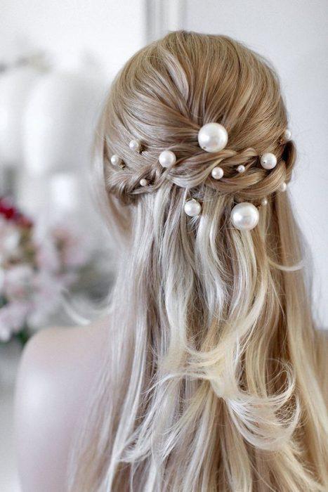 horquillas de perlas para el cabello