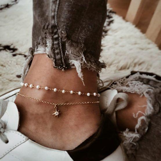tobilleras con perlas