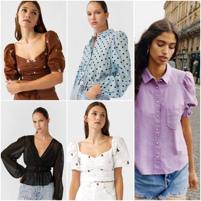 Remeras y blusas con mangas grandes Moda mujer verano 2021