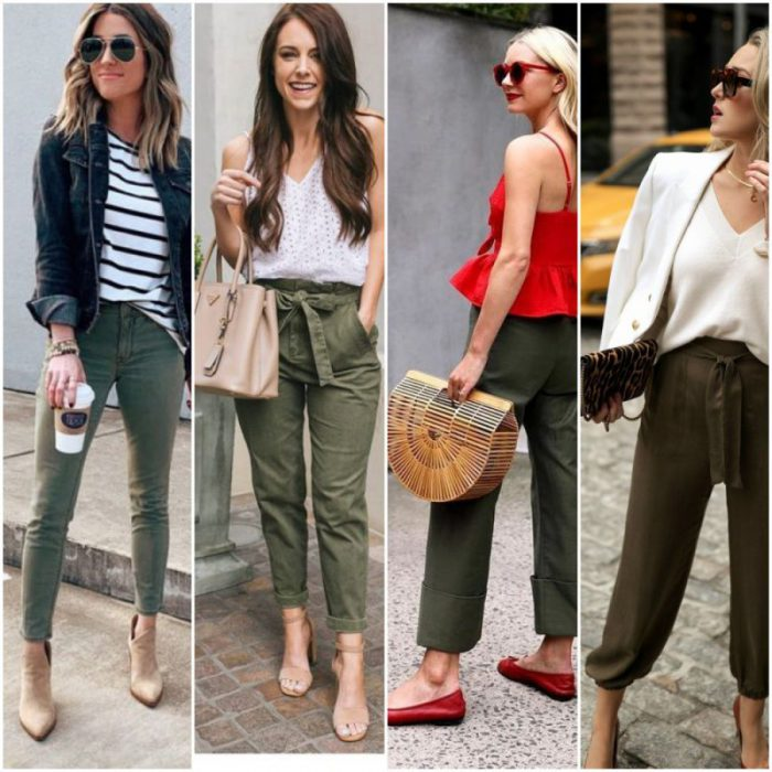outfit con pantalon verde oliva