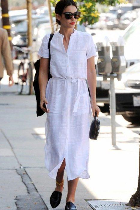 vestido camisero blanco casual