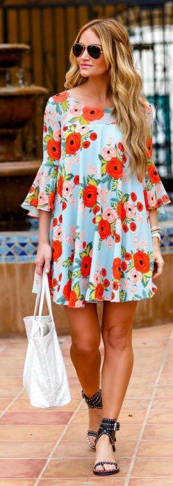 vestidos floreados casual corto
