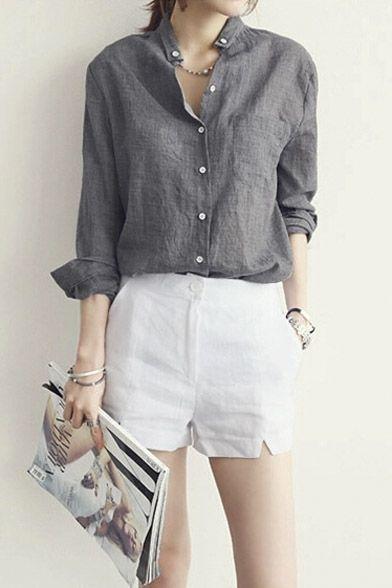 camisa y short de lino blanco