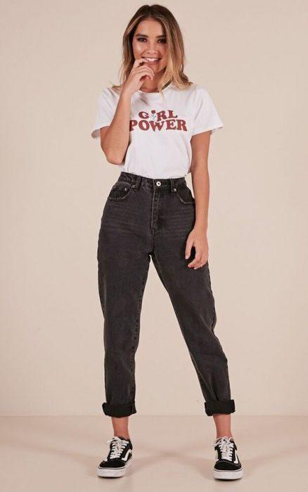 jeans mom negros informal
