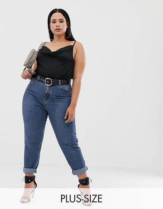 jeans mom para gorditas