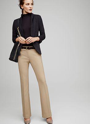 look formal para ir a la oficina con pantalon beige mujer
