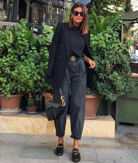 look urbano con jeans mom negro