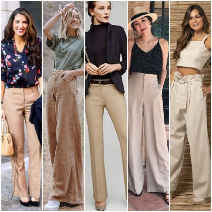 outfit con pantalones beige mujer