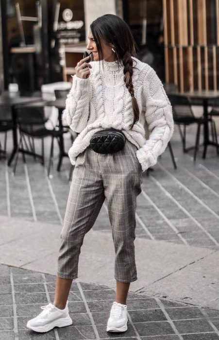 pantalon a cuadros invierno sweater lana