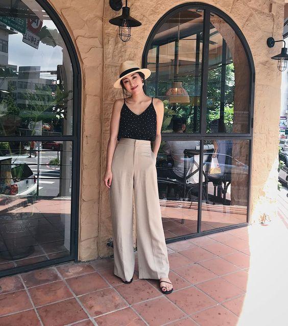 pantalon ancho beige para el verano
