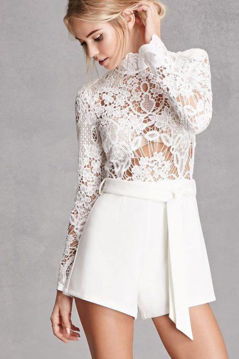 short de vestir blanco para la noche