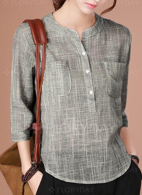 blusa cuello mao con botones