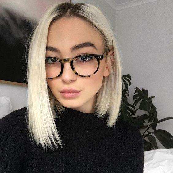 lentes y corte bob