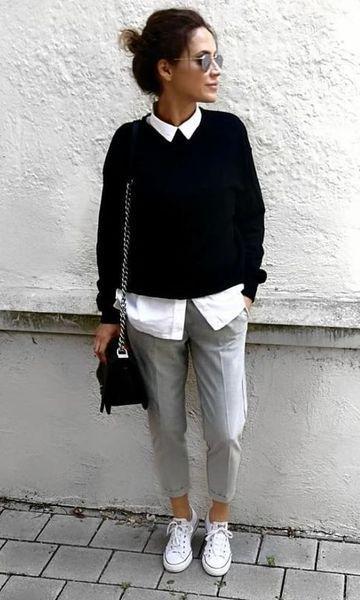 look casul con pantalon gris