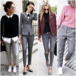 look con pantalon gris mujer