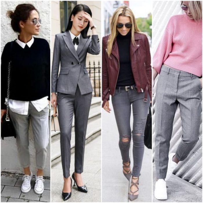 Como Combinar Pantalon Gris Outfit Mujer 2021 Muy Trendy