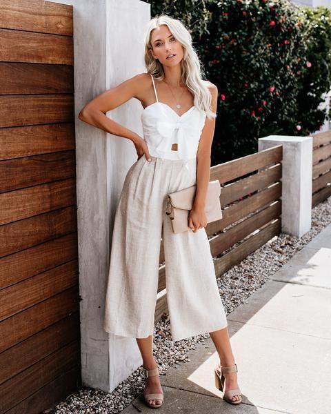look noche con pantalon de lino verano 1