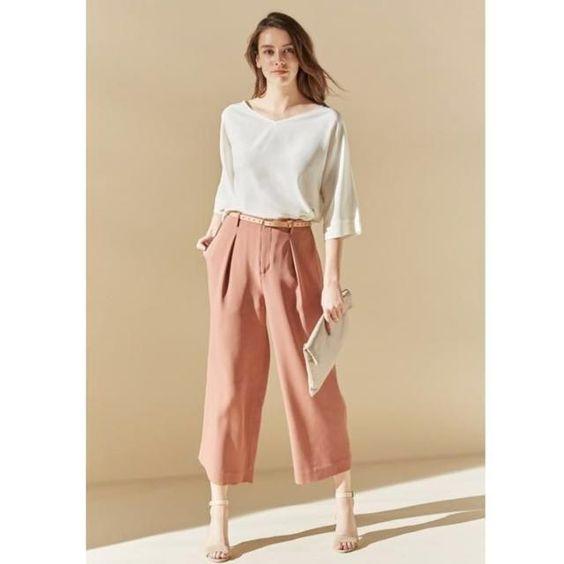 pantalon de lino rosa para la oficina